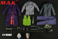 1:4 scale clown costume accessories Joker figure clothes set&male man body DIY action figure model toy collections