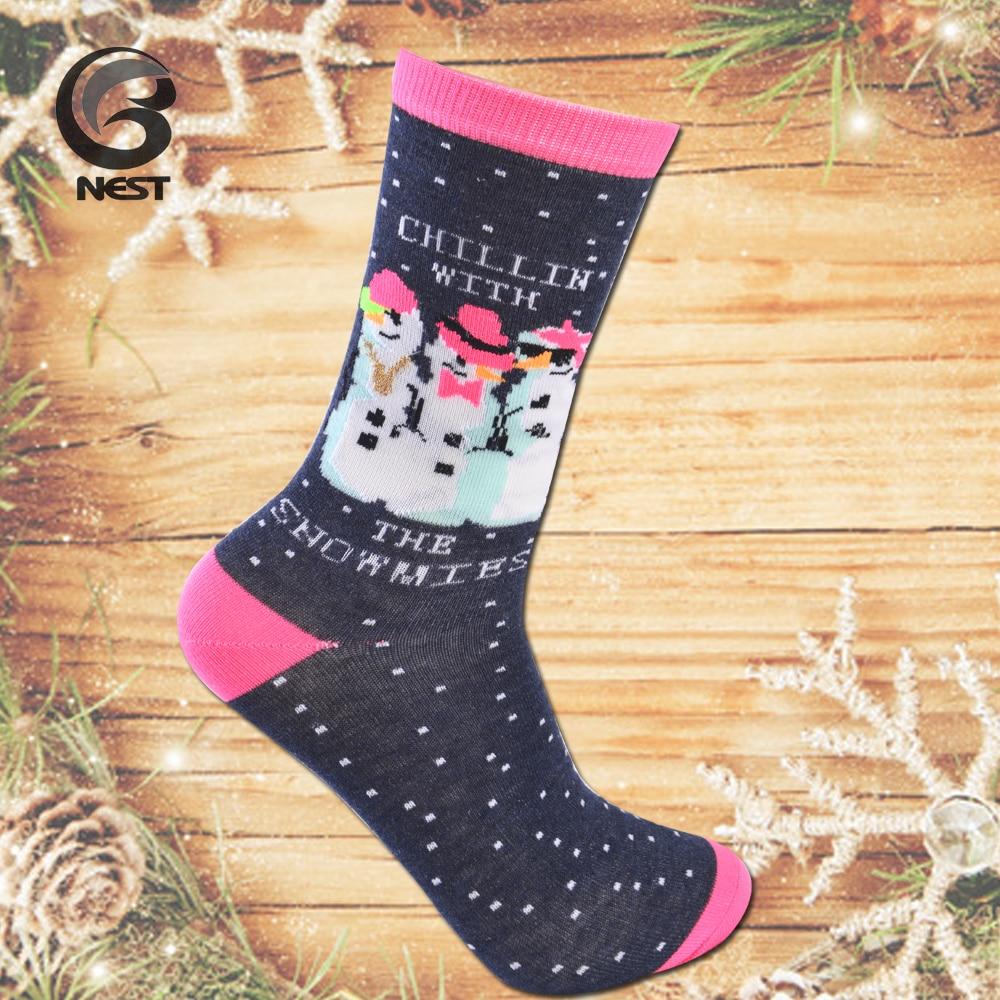 DROZENO New Christmas ladies socks Little deer Christmas snowman with Christmas element and so on Happy Christmas socks