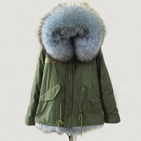 Winter Army Green Coat Light Blue real fox High quality warm thick fur lining Male parka