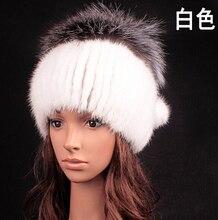 Горячая распродажа новый женские шапки 100% подлинная норки hat лоскутное природный чернобурки шапочки зима теплая меховая шапка для женщин шапки