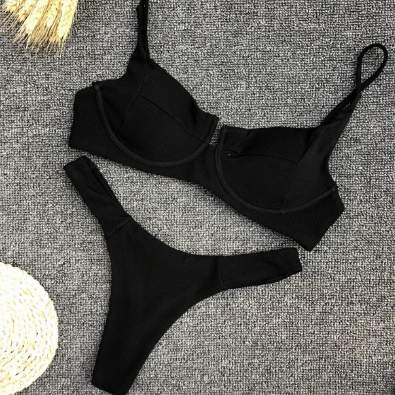 2019 New Women Bandage Push-up Padded Bikini Set Stretch Bodycon High Waist Swimwear Swimsuit Bathing Suit White Black