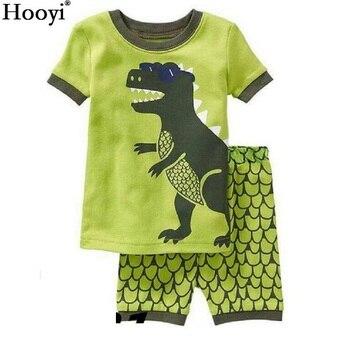 2018 Fashion Boys Pajamas Suit Summer Children Dinosaur Baby Sleepwear Baby Boy's Clothes 100% Cotton Tee shirt Short Pants Soft 1