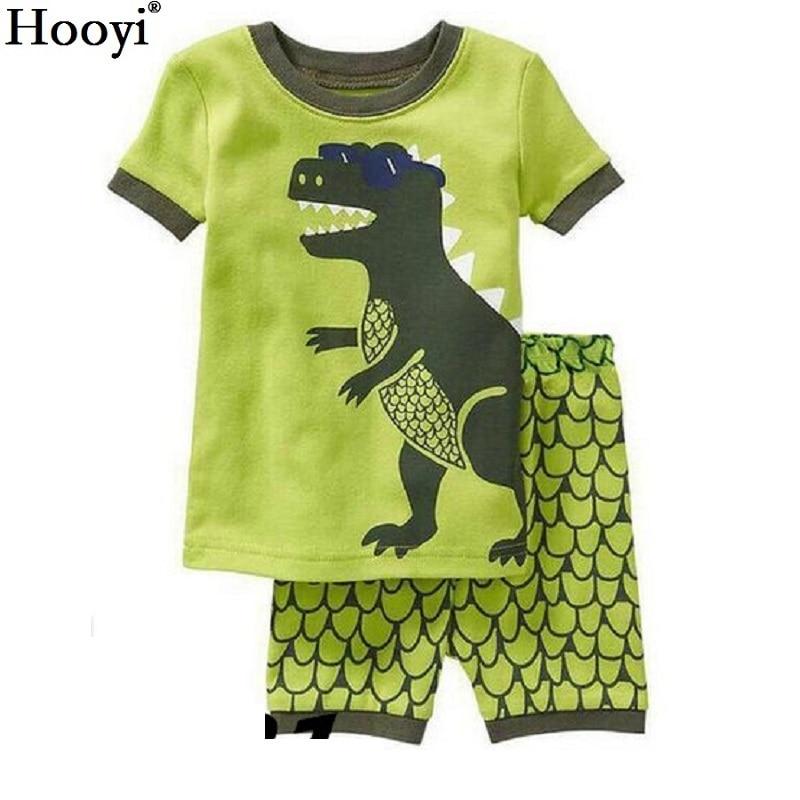 2018 Fashion Boys Pajamas Suit Summer Children Dinosaur Baby Sleepwear Baby Boy's Clothes 100% Cotton Tee Shirt Short Pants Soft