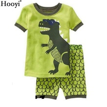 2018 Fashion Boys Pajamas Suit Summer Children Dinosaur Baby Sleepwear Baby Boy's Clothes 100% Cotton Tee shirt Short Pants Soft
