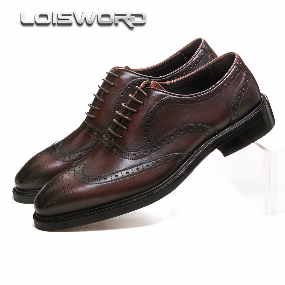 Fashion Brown tan/ black Goodyear Welt shoes oxfords mens business shoes genuine leather dress shoes mens wedding shoes large size eur45 crocodile grain black brown tan oxfords mens business shoes genuine leather dress shoes mens wedding shoes