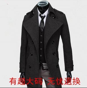 2016 grey black Korean teenage double breasted wool coat men trench jackets mens wool coats overcoats dress winter S – 9XL