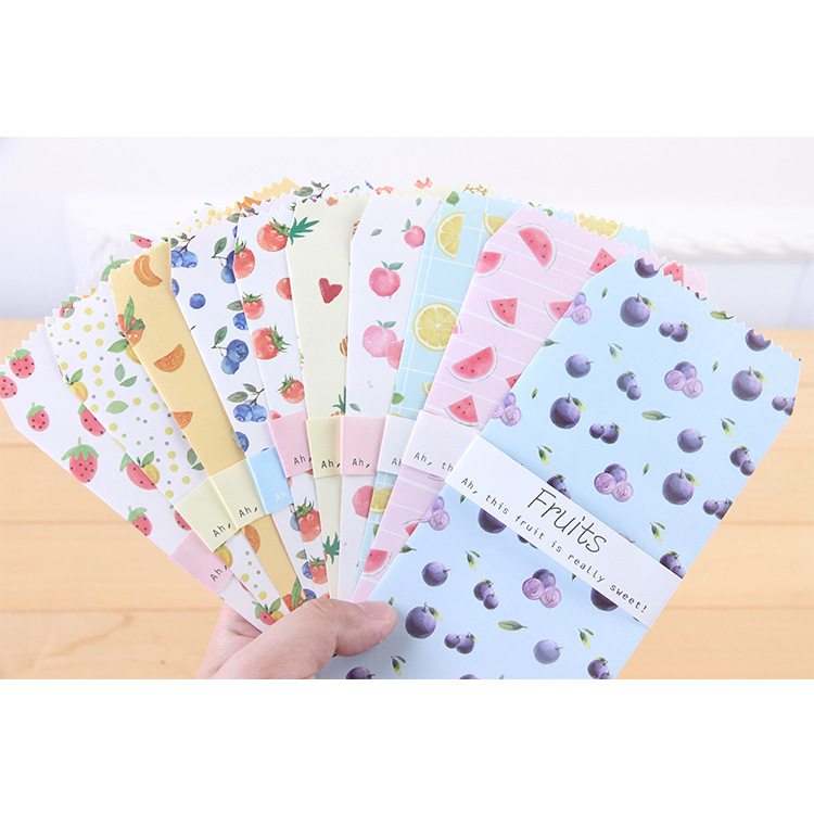 6pcs/pack Cute Fruit Paper Envelope Letter Paper Message Card Letter Stationary Storage Paper Gift