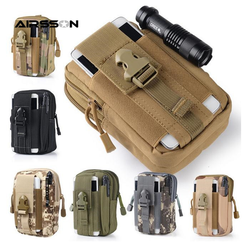 Airsson Universal Outdoor Sport Tactical Bag Molle Waist Nags 5.5/6 Inches Waterproof Phone Cases 600D Oxford Tactical Pouch Bag military molle sport bag outdoor hook loop pouch for iphone 7 plus 6 plus samsung s7 etc black