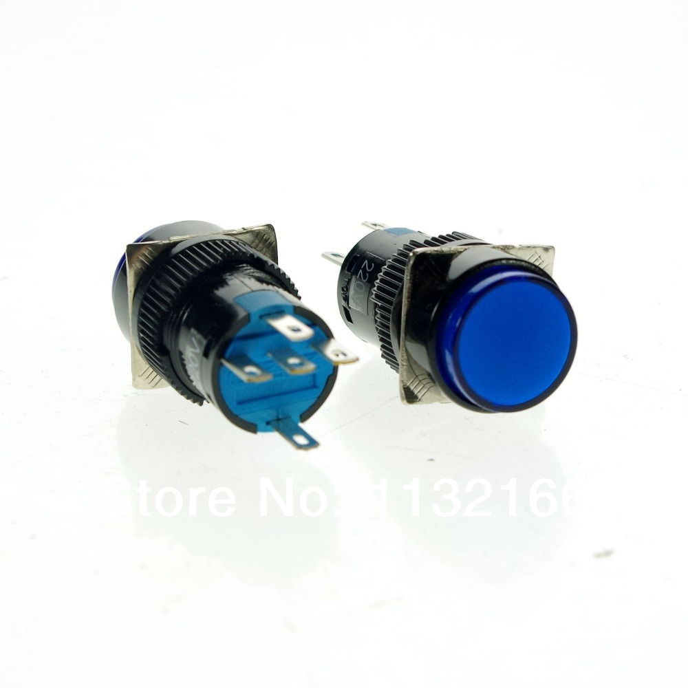 10pcs 12VDC Pilot Light Lamp 16mm Hole Color Blue 1NO 1NC Contact 5 Pin SPST Momentary Push Button Switch
