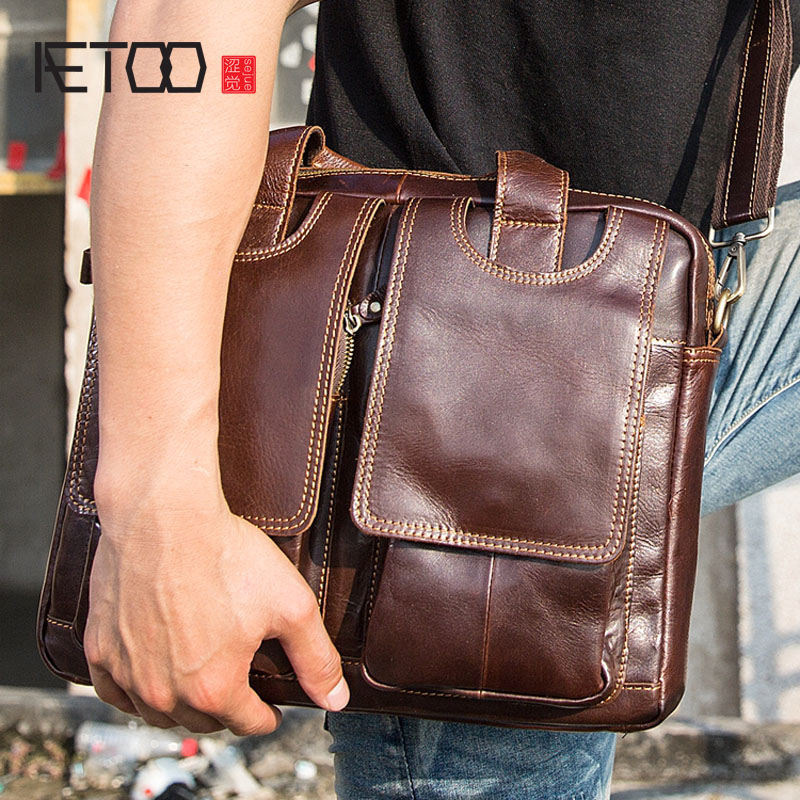 AETOO Genuine Leather Men's Briefcase Vintage Business Computer Bag Fashion Messenger Bags Man Shoulder Bag Postman Male Handbag