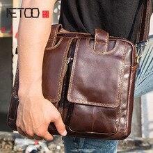 AETOO Genuine leather mens Briefcase vintage business computer bag fashion messenger bags man shoulder postman male Handbag