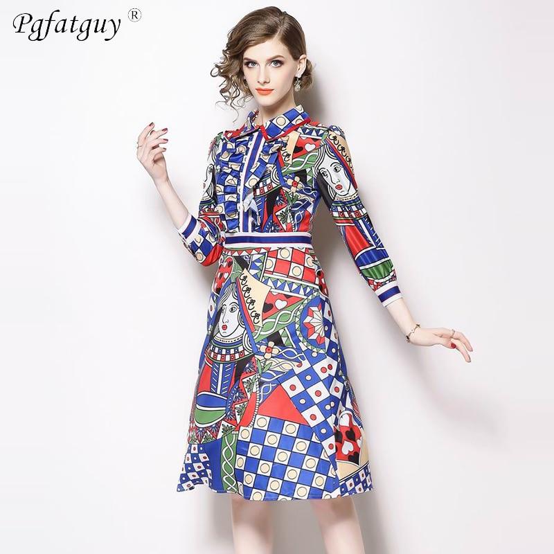 Robes Manches Robe Dames Élégant Vintage Impression D'hiver Soirée Mi Printemps Vêtements Multi Trois Femmes 2018 Trimestre De mollet rarUYqv