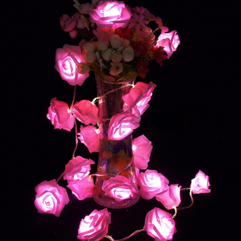 garland 20pcs set rose flower fairy luces decorativas string lights guirlande lumineuse led. Black Bedroom Furniture Sets. Home Design Ideas