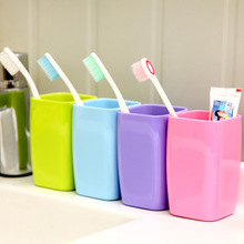 candy pure color thicken koubei Square plastic teeth gargle water cup travel  cup