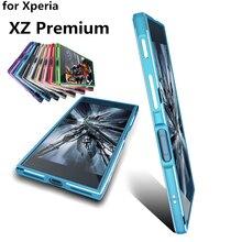 Чехол для Sony XZ премиум класса люкс ультра тонкий алюминиевый бампер для Sony Xperia XZ Премиум G8142 E5563 чехол + 2 пленка (спереди и сзади)