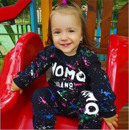 2016 Children Sets Fashion Letter Autumn Cotton Boy Girl Clothes Kids Sets Coat+Pants 2pcs Brand New Boys Sports Clothing Suit