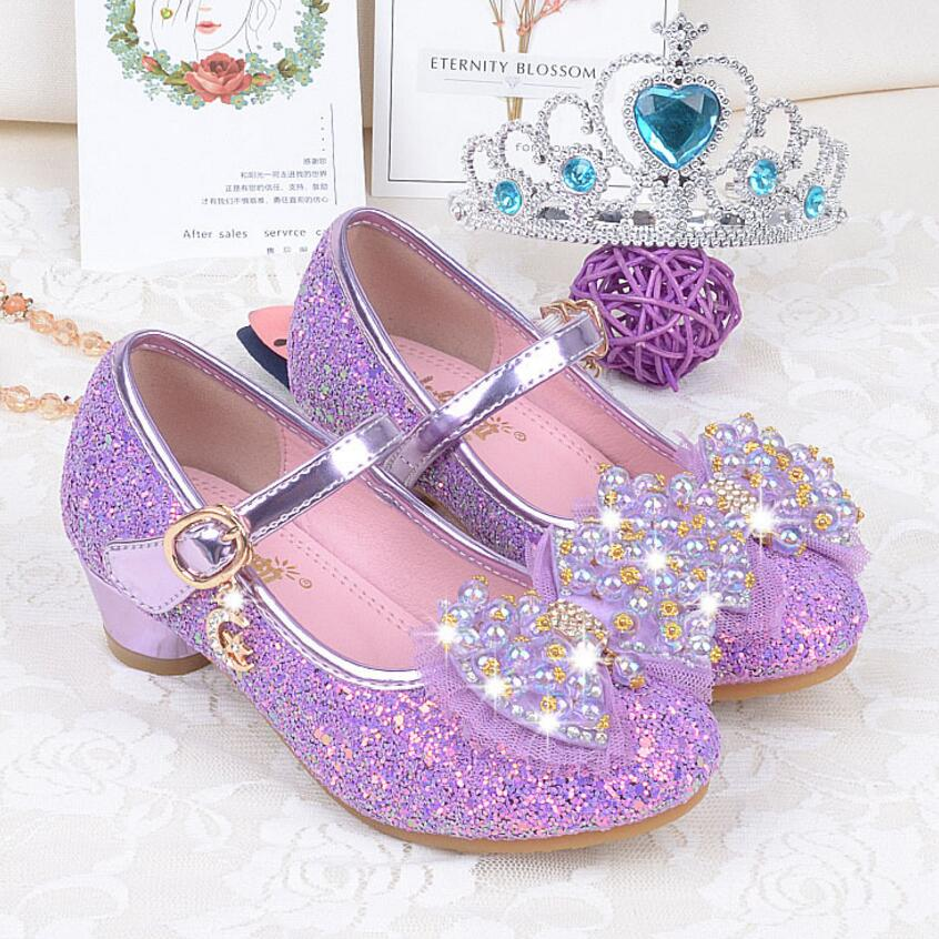 New Autumn Children Shoes Girls Bow Beading Leather Low Heel Slip Sandals For Baby chaussure menina Pink Purple Gold
