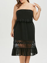 Plus Size 5XL Women Dress Cute Black Strapless Chiffon Women Dresses