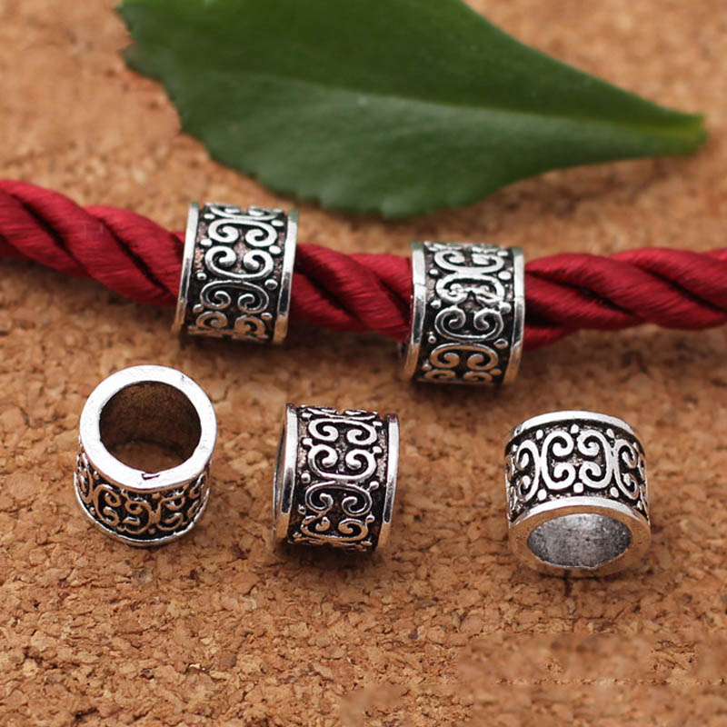 50pcs Lots Tibetan Silver Loose Spacer Meatal Charm Beads Jewelry 8x7.5x7.5mm