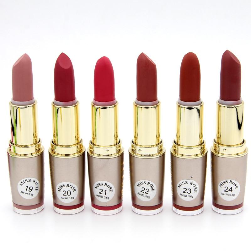 24PCS/LOT Miss Rose Matte Lipstick Waterproof Makeup Lip Matte Lip Stick Cosmetics Sexy Red Lip Tint Nude Lipstick Matte Batom-in Lipstick from Beauty & Health    2