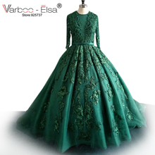 VARBOO_ELSA Sexy Hunter Green Evening Dress 2017 Long Sleeve Lace Applique pearls Evening Gown Formal Prom Party Dress Ball Gown(China)