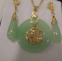 Beautiful Natural Jadeite Pendant And Pair Of Earrings Set A S D AD FE1