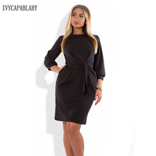 Здесь можно купить   IVYCAPABLAHY 2018 Spring Women Dress Fashion Casual O-neck Brand Clothing Plus Size Three Sleeve Black Dresses 6xl 5XL Vestidos Women