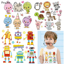 Prajna Combination Animals Stickers Robot Owl Dog Bear Ironing Heat Transfer Printing Cartoon Pink Cute Zoo Thermal H