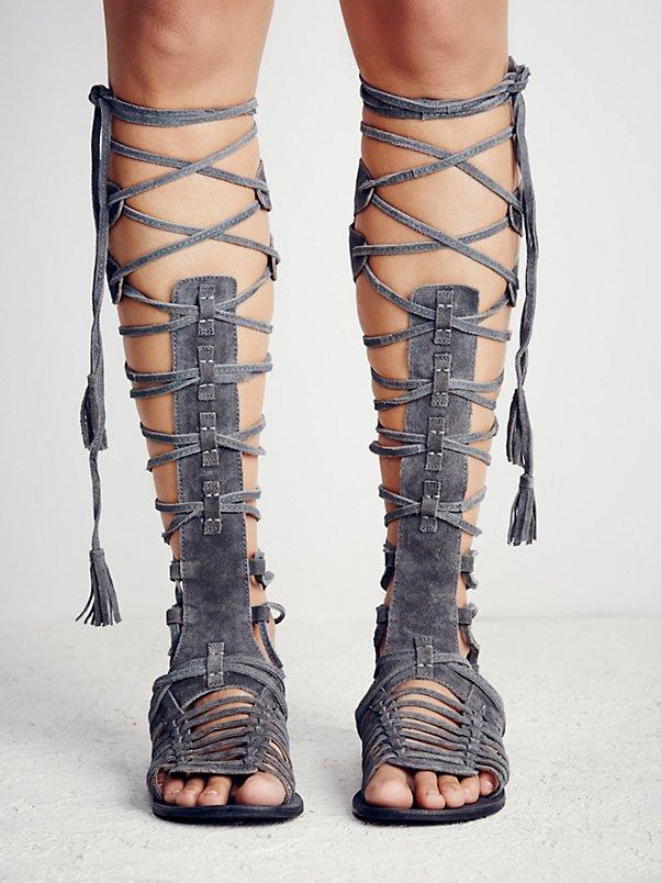 Alta Zapatos Niñas De Sestito Toe Bohemio Ocasionales Recortes Rodilla As Peep Estilo marrón Señora Mujer Pictures Encaje Planas Suede gris Sandalias Botas 66CqawOWx