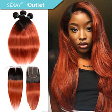 Sexay Ombre Bundles With Closure Pre-colored 1B 350 Burnt Orange Brazilian Straight Hair Weave Human Hair 3 Bundles With Closure(China)