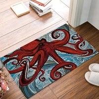אוסף עיצוב תמנון תמנון אדום מקורה החלקה מחצלות דלת שטיח שטיחי מחצלות אמבטיה מטבח דלת כניסה