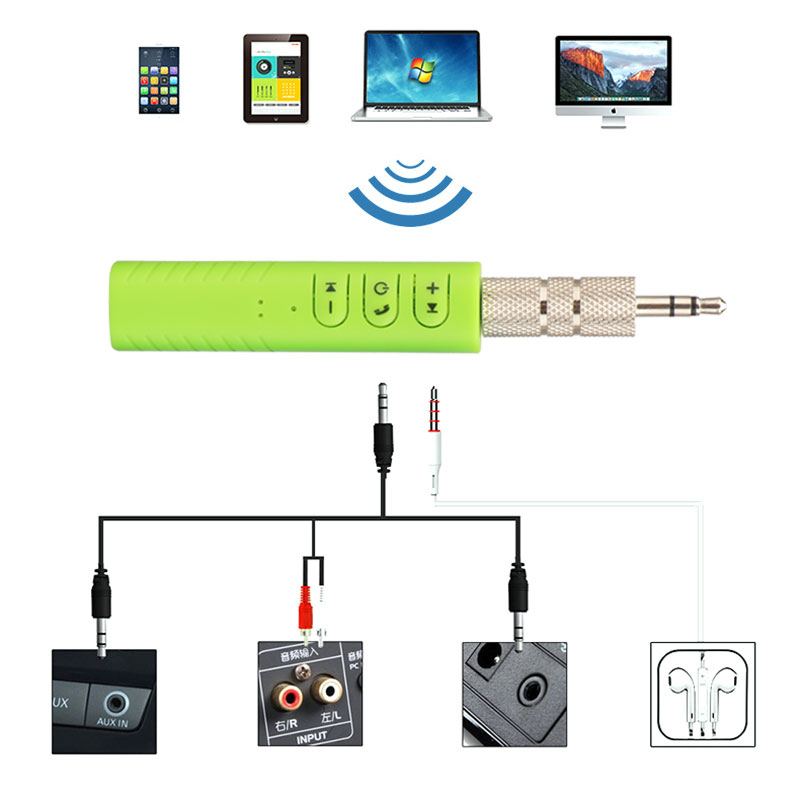 Universal 3.5mm jack Bluetooth Car Kit Hands free Music Audio Receiver Adapter Auto AUX Kit for Speaker Headphone Car Stereo 3
