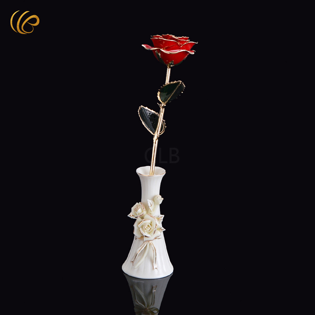 Wholesale Gold Plated Rose Flowerred Golden Rose Florist With Vase