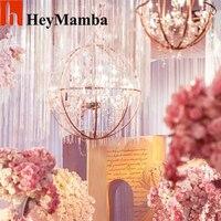 HeyMamba 3 adet Kristal Lamba Demir Asılı Top Kristal ışık topu Düğün Için Centerpiece Dekorasyon Sahne