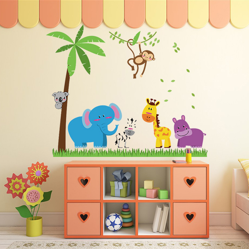 DIY Cartoon Animal Wall Sticker Tree Stickers Retro Poster Wallstickers for Kids Baby Rooms Bedroom Decoration Home Decor Mural