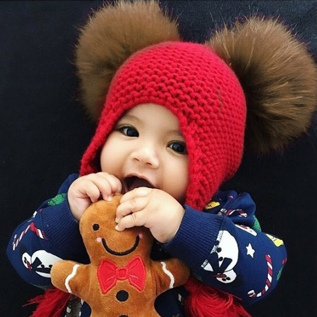 Kids Wool Knit Real Fur Pom Pom Hat Baby Girls Boys Crochet Earflap