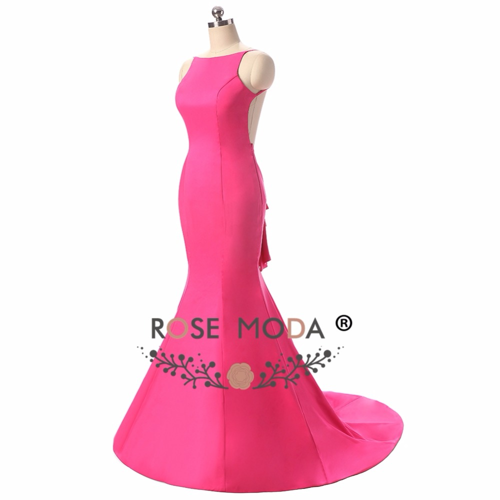 Rose moda backless Hot pink sirena vestido backless atractivo ...