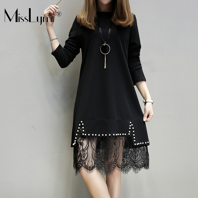 XL-5XL Plus Size Women Black Lace Dress Summer 2018 Fashion Long Sleeve Knitted Cotton Patchwork Beading Lace A-Line Dresses plus size double pockets knitted dress