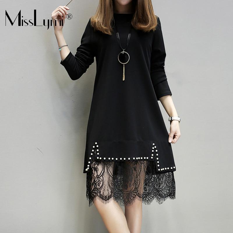 XL-5XL Plus Size Women Black Lace Dress Summer 2018 Fashion Long Sleeve Knitted Cotton Patchwork Beading Lace A-Line Dresses футболка supremebeing pantera noir ss14 black 8901 xl