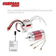 SURPASSHOBBY Platinum Waterproof Combo 3660 4300KV 3800KV 3300KV 2600KV Brushless Motor w/ 60A ESC Programming Card for 1/10