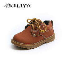 AIKELINYU Autumn Boys Tooling Boots Children Yellow Leather Shoes Girls Boys British Style Martin Shoes Kids