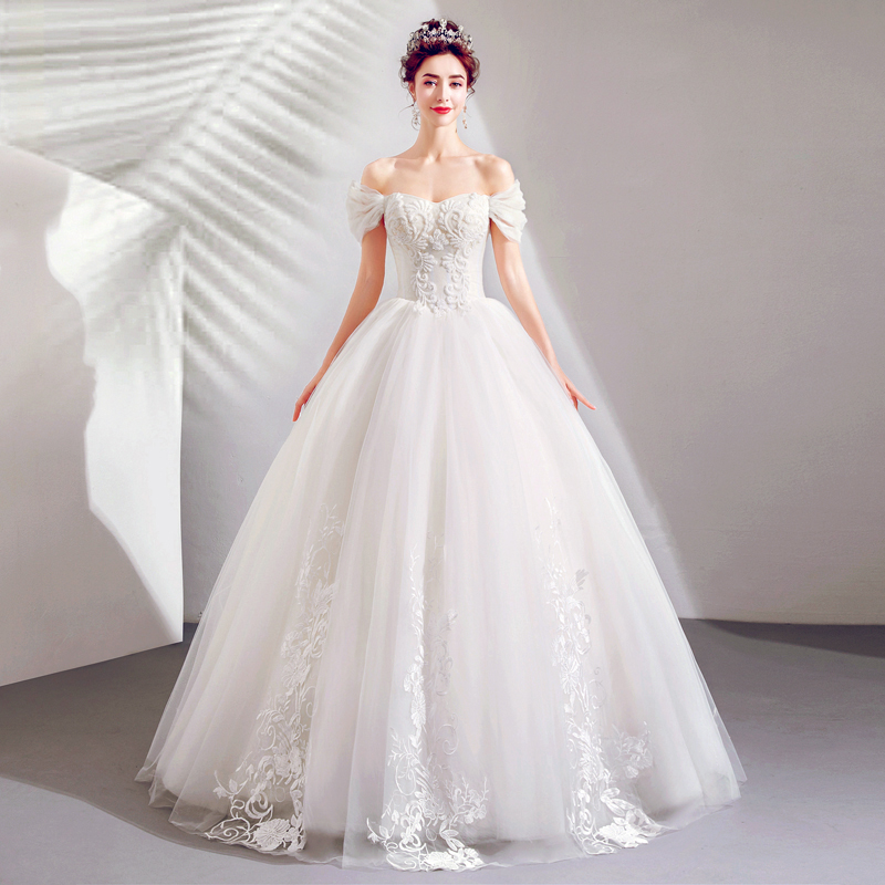 Elegant Princess Puffy Ball Gown Delicate Beading Wedding Dresses Off The Shoulder Full Length Robe De Mariee Wedding Gowns