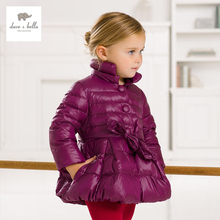 DB1555 дэйв белла зима детские пальто новорожденных девочек whiteduck вниз пальто на вате