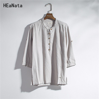 2018 New Trend Fashion Solid Color Thin Shirt Men Stand Collar Cotton Linen Half Sleeve Shirt Slim Type Male Casual Linen Tops