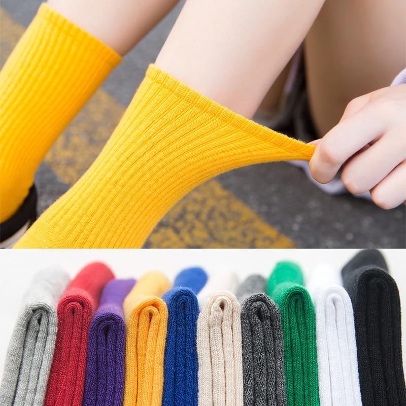 Unisex Rainbow Color Women Socks Harajuku Colorful Mid Standard 1 Pair Kawaii