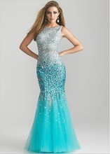 2013 Exquisite Champagne Rhinestone Mermaid Prom Dresses With Beads And Sequins Organza JC-51