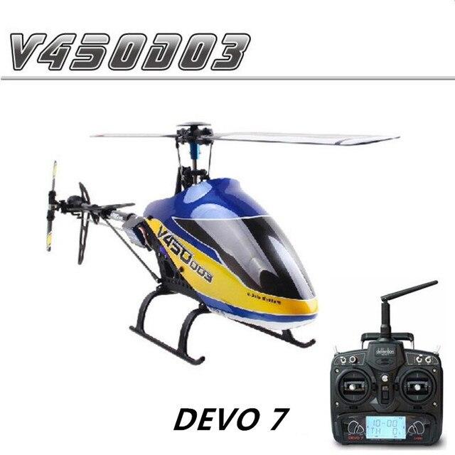 Walkera v450d03 6 eixos giroscópio flybarless 3d rc helicóptero com devo 7 transmissor rtf 2.4 ghz
