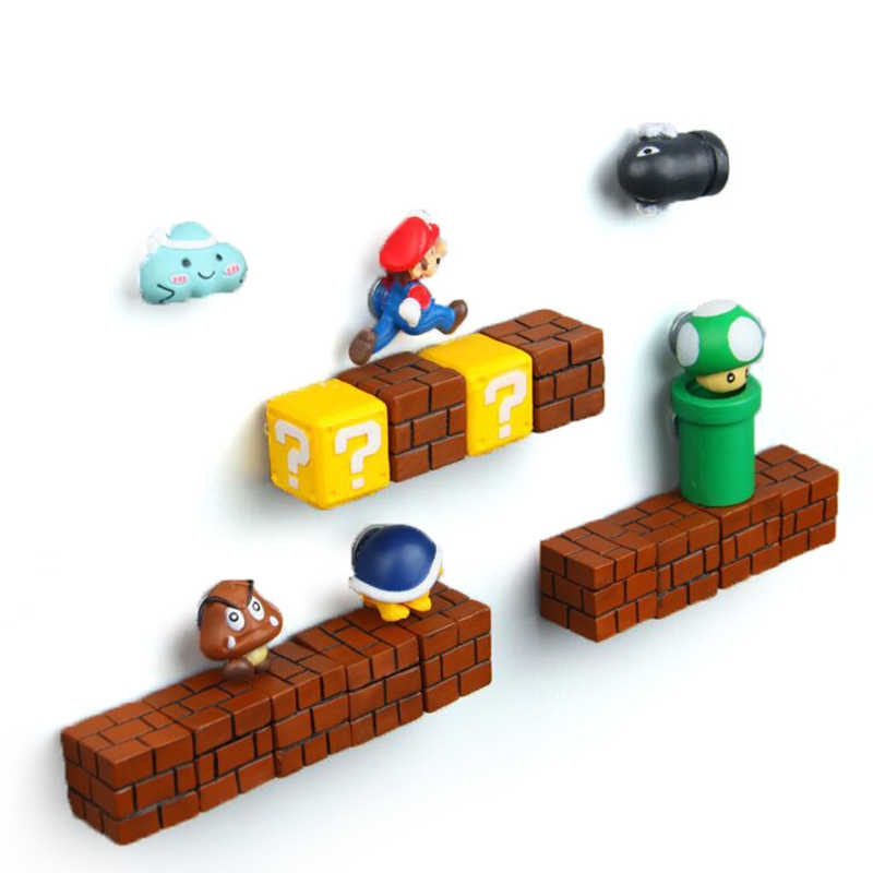 Super Mario Fridge Magnets Refrigerator Craft DIY Cute Super Mario Game Fridge Magnet Cartoon Gaming 3D Ice Box Paster Sticker