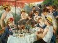 100% ручная работа Пьер Август Ренуар картина маслом Репродукция на льняном холсте, обеды лодок вечерние, музейное качество - фото