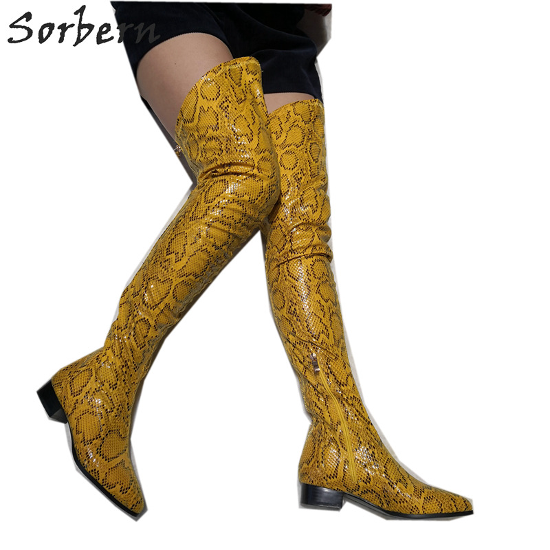 Sorbern Yellow Python Thigh High Boots For Women Block Heels Pointed Toe High Heel Ladies Shoes Over Knee Boots Womens Plus SizeSorbern Yellow Python Thigh High Boots For Women Block Heels Pointed Toe High Heel Ladies Shoes Over Knee Boots Womens Plus Size